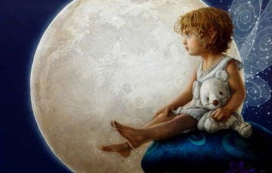 Dich selbst zu schätzen - Illustration Kind sitzt vor Mond