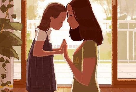 Dich selbst zu schätzen - Illustration Mutter und Kind
