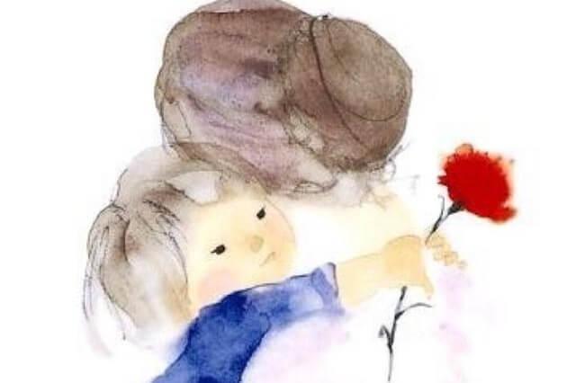 Die modernen Großmütter - Zeichnung Enkel umarmt Oma