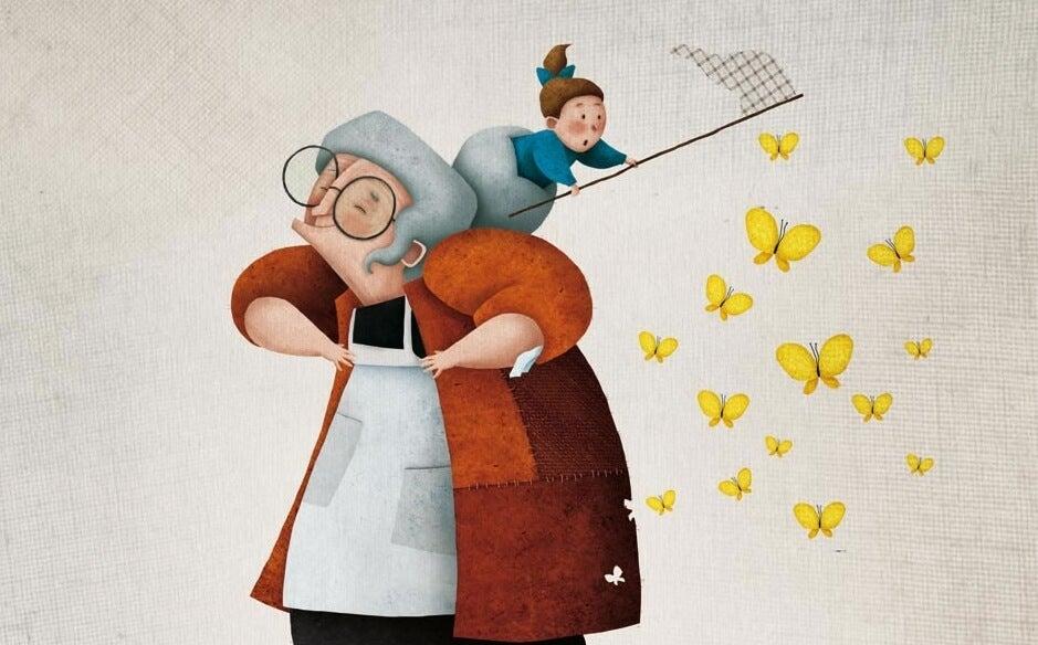 Die modernen Großmütter - Zeichnung Oma mit Enkelin