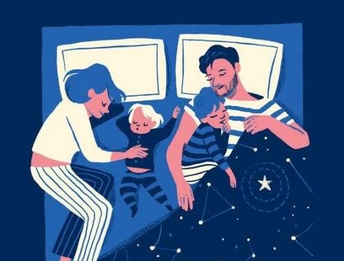 Ein Kind das nachts aufwacht - Zeichnung Familie schläft
