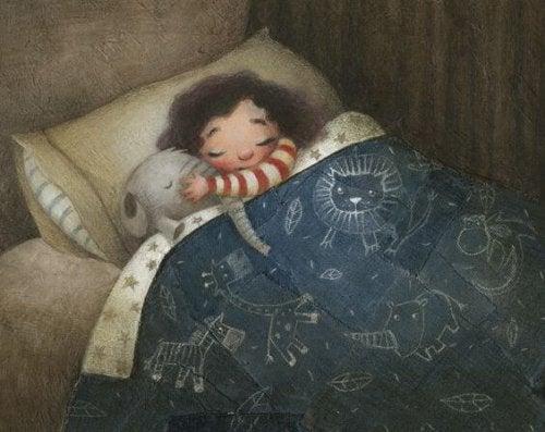 Ein Kind das nachts aufwacht - Zeichnung Junge im Bett