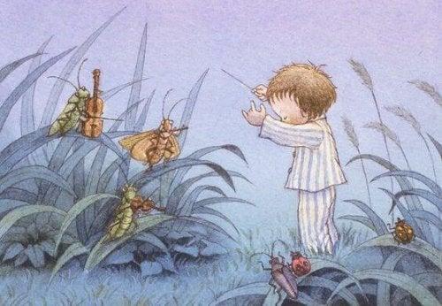 Ein Kind das nachts aufwacht - Zeichnung Junge träumt