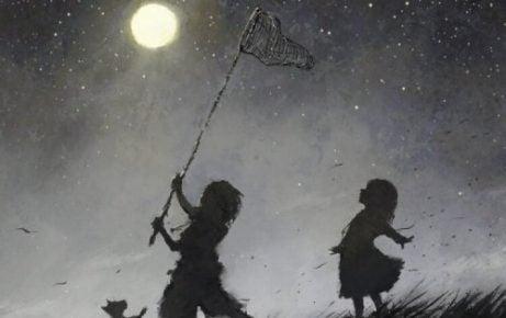 Ein glückliches Kind - Zeichnung Mondfangen