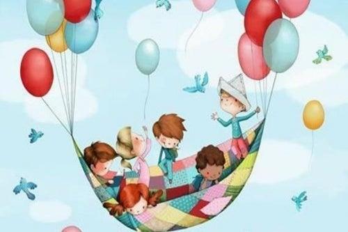 Ein glückliches Kind - Zeichnung spielende Kinder