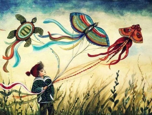 Ein rebellisches Kind - Kind beim Drachensteigen