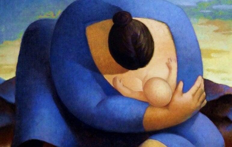 Es ist wichtig mit deinem Baby zu sprechen - Zeichnung Mutter stillt Baby
