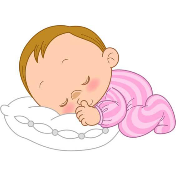 Liebe Mama - Zeichnung schlafendes Baby mit Kissen