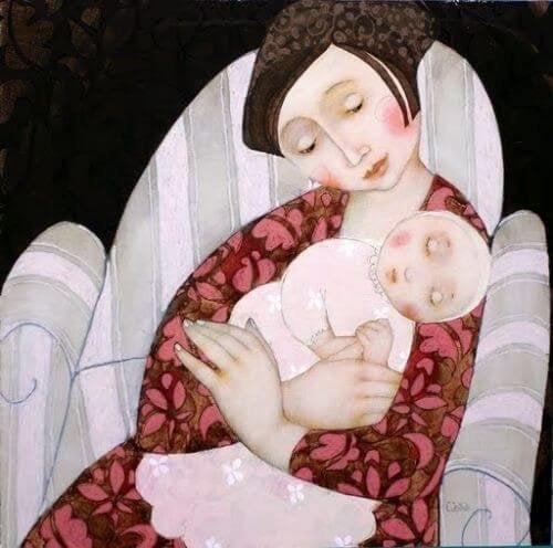 Mütter schlafen nicht - Zeichnung Baby schläft auf Mamas Arm