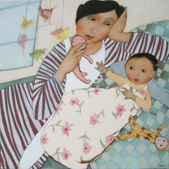 Mütter schlafen nicht. Sie sind immer wachsam
