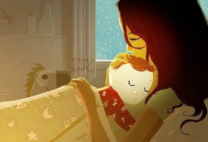 Mütter zu Hause - Zeichnung Baby schläft in Mamas Arm