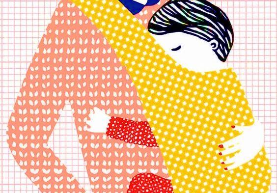 Mütter zu Hause - Zeichnung Kind in Trageschaal