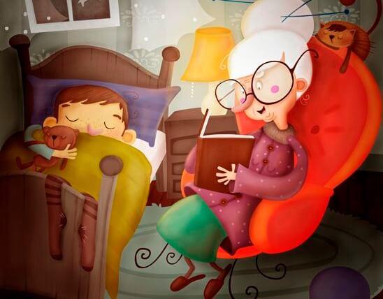 Mit Großeltern aufwachsen - Zeichnung Großmutter liest Enkel vor