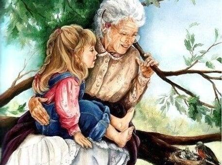 Mit Großeltern aufwachsen - Zeichnung Großmutter und Enkelin