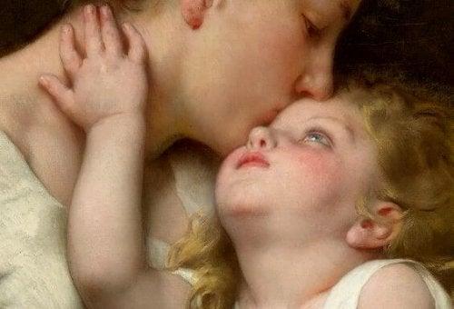 Trösten - Mutter küsst Kind