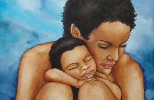 Trösten - Mutter und Baby