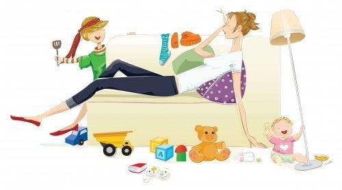 sehr erschöpft - Zeichnung Mutter auf Sofa
