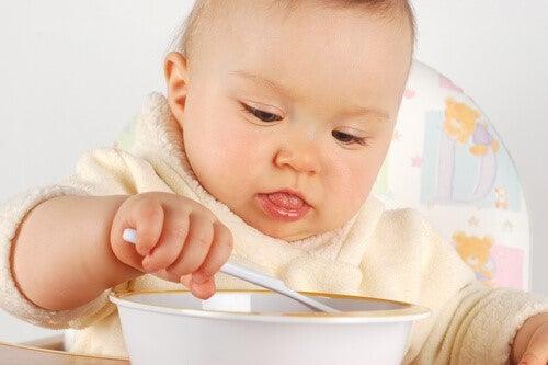 Die ersten Lebensmittel - Baby isst mit Löffel