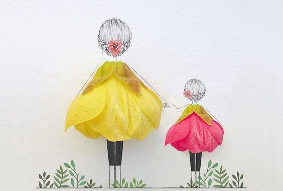 Zeichnung Mutter mit Kind