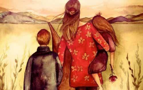 Eine glückliche Familie wird mit dem Herzen gebaut