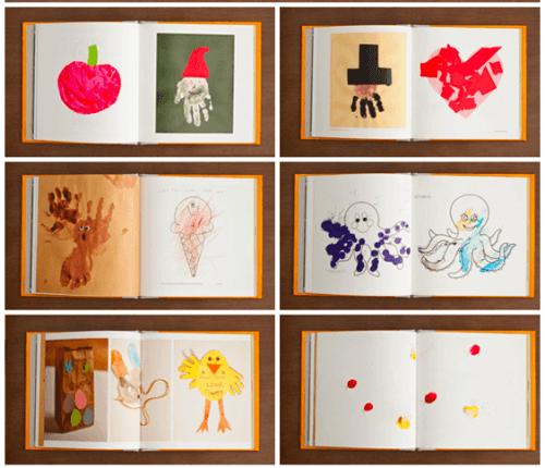 Selbst gemachtes Buch mit Zeichnungen