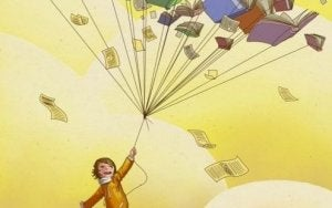 Kind mit Büchern als Geschenke