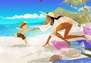 Mutter und Sohn am Strand ohne jede Konkurrenz