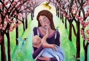 Mutter streichelt die Seele ihres Kindes