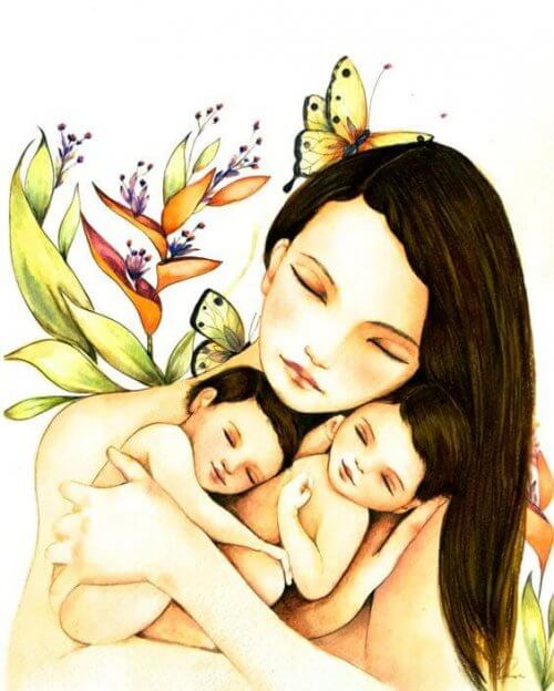 Mutter mit Kindern denkt an Dornen des Lebens