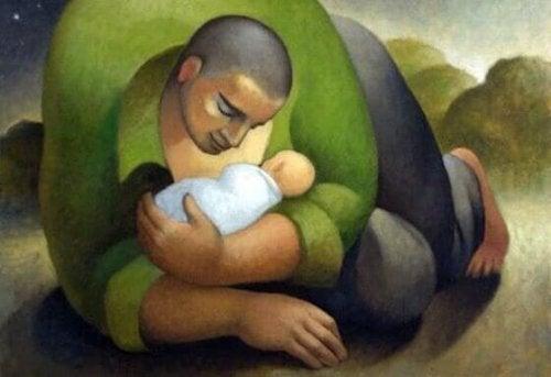 Gemälde von Vater und Kind