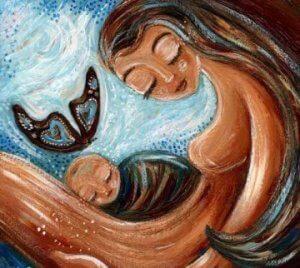 Mutter mit Kind, das ihr Leben schöner macht