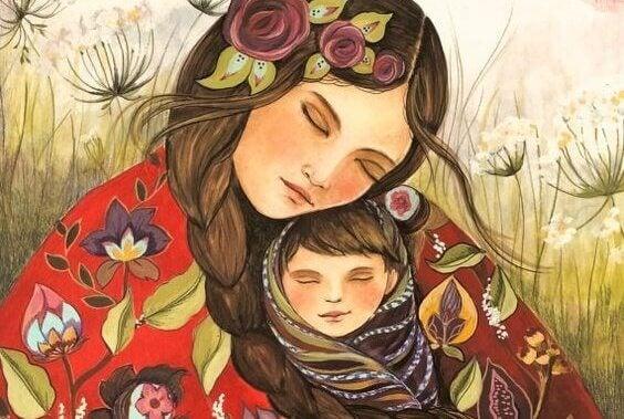 Wenn ein Kind glücklich lacht, berührt die Mutter die Sterne