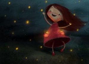 ein Kind, das glücklich lacht, greift nach den Sternen