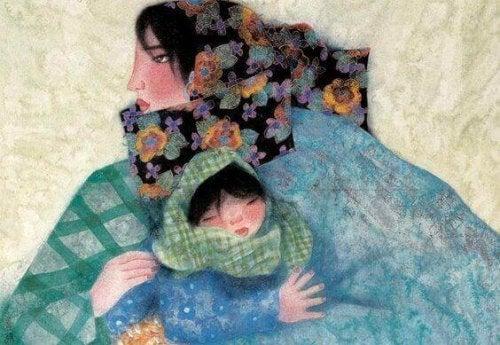 Die Zeit mit deinen Kindern: Gemalte Mutter und Tochter