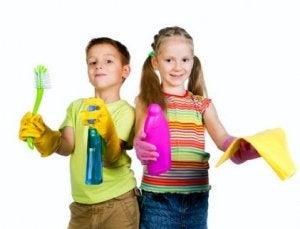 im Familienalltag helfen auch Kinder im Haushalt