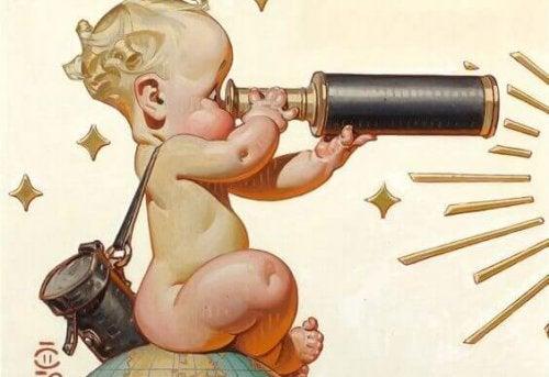 Gemaltes Baby mit Teleskop