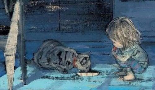 Zeichnung eines Kindes mit Katze von Komako Sakai
