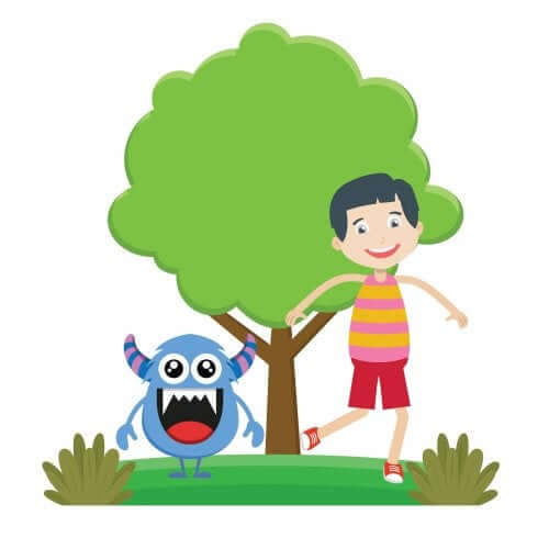 Farben lernen: ein blaues Monster und ein Kind