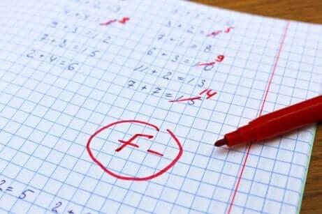 Schlechte Note im Mathetest