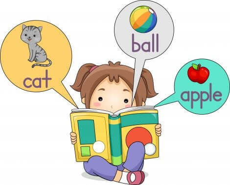 Kind liest Englisch