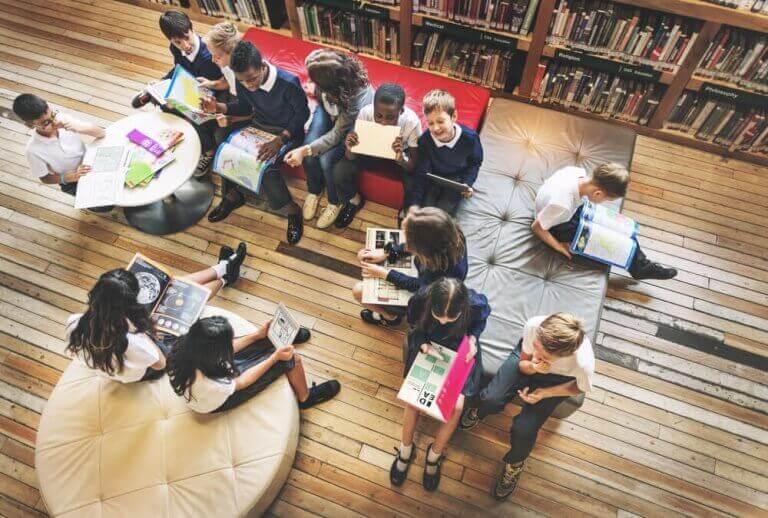 Schulorganisation - Schüler in Bibliothek