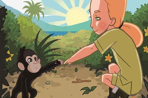 Wissenschaftlerinnen - Zeichnung Frau mit Schimpanse