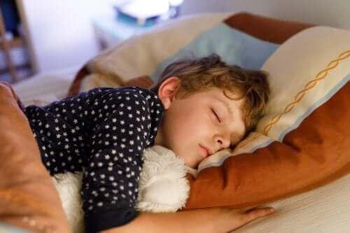 Übergangsobjekte - schlafender Junge mit Stofftier